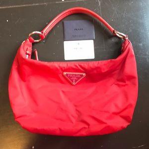 Red nylon Prada purse - used